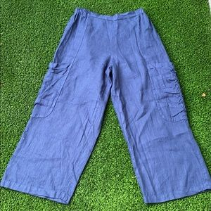 Camille & Co Navy blue linen wide leg pants
